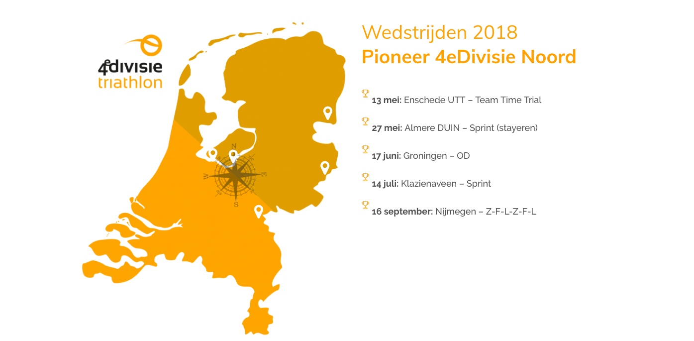 vereniging - Programma UHTT 4e divisie Noord 2018 - We mogen in 2018 de triathlon competitie in!  - competitie, 2018