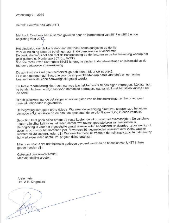 vereniging - UHTT Verklaring KasCommissie 2019 - Aankondiging & Voorbereiding op UHTT Algemene Ledenvergadering op 25 Jan 2019 - update, Social event, Ledenvergadering, ALV, Agenda